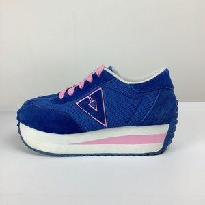 Volatile Inspiration Y2K Blue Pink Suede Platform Sneakers Sz 8